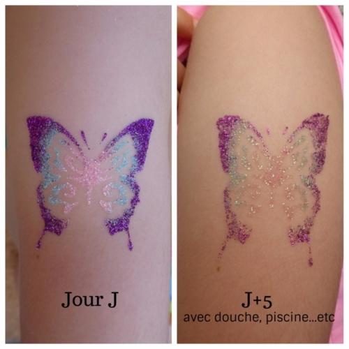 avant/après tatouage éphémère paillettes